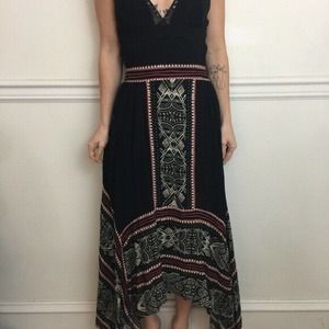 Free People Tribal Print Eyelet Black Maxi Skirt S